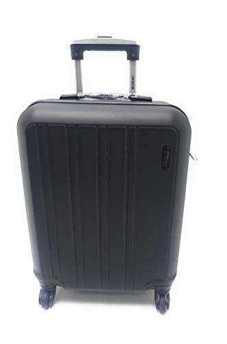 Trolley Ryanair Priority idoneo cm.55x40x20 ABS rigido 4 Ruote Bagaglio a mano Low cost (NERO)