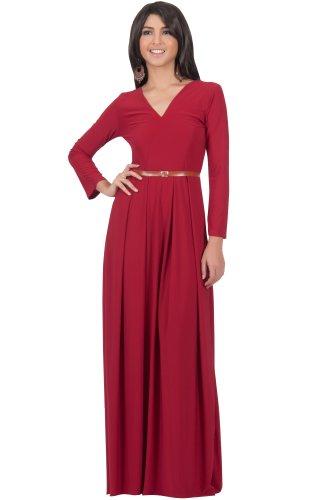 KOH KOH® Damen Langarm Maxikleid Elegant Abendkleid V-Ausschnitt, Farbe Rot, Größe L / Large (Kostüme Sexy Bar Maid)