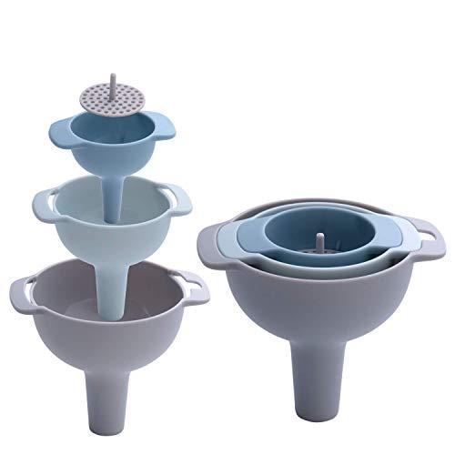 Imbuto di plastica da cucina 4pezzi con filtro rimovibile/filtro per il trasferimento di liquidi, liquido, cibi secchi, disponibile in 3misure di pratica blue