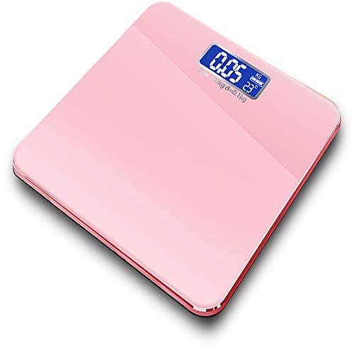 CHENG Digital-Gewicht-Personenwaage, Personenwaage Digitale Körperfettwaage LCD-Einheit Schalt Intelligente Schalter Maschine für Weight Loss Fitness-Tracking,Rosa -