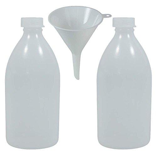 2 x Laborflasche Enghalsflasche 500 ml aus Kunststoff BPA frei, made in Germany inkl. Einfülltrichter