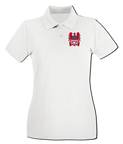 T-Shirtshock - Polo pour femme WC0111 USA STATI UNITI UNITED STATE Blanc