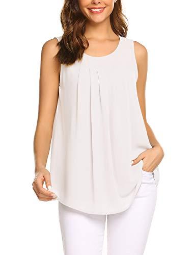 Parabler Damen Sommer Chiffon Top Ärmellose Blusentop Tank Top Elegant Weste Top Shirt Bluse Oberteile (Weiß, EU 44/XXL)