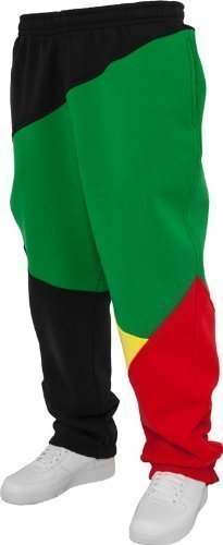 Urban Classics Herren Jogginghose Zig Zag Sweatpants TB286 Urban Fit, Farbe: Black/Rasta, GR: L (Rasta Fashion)