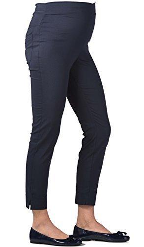 Christoff 7/8 Schwangerschaftshose Umstandshose Sommer-Hose - Straight Fit gerades Bein - Comfort Bund - 539/46 - schwarz Black - Gr. 42 / XL