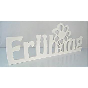 Schriftzug Frühling mit Blume in weiß - frei stellbar