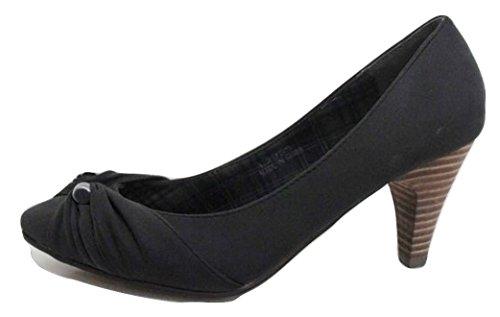 Anne Michelle broches Rouched avant Cour Chaussures Noir/gris
