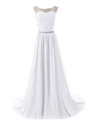 Eudolah Robe de soiree ceremonie longue en mousseline avec effet plisse et ceinture ornes en perles Femme Blanc