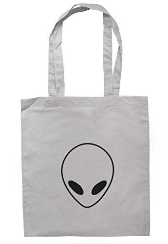 breadandbutterthreads Alien Face Borsa 37,5cm x 42cm con manici lunghi Light Grey