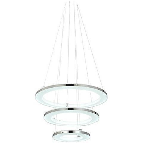Moderno LED Acrilico Lampada A Sospensione Soffitto Luce con Armatura 3 Anello di 210 Lampadine Ideale per Decorazione Camera da letto Soggiorno Sala Da Pranzo Foyers - Bianco Caldo
