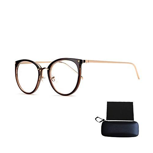 Tianzhiyi Glasdekoration Nerd Brille Retro Runde Unisex Dekorative Brille Klassische Mode Damen/Herren Eyewear (Color : Tawny)