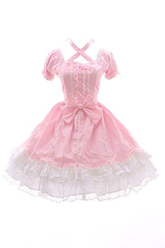 JL-624-2 Rosa weiß Kleid Stretch Classic Gothic Lolita Kostüm dress Cosplay Kawaii-Story (Stretch M-L) (Toy Story Toy Brust)