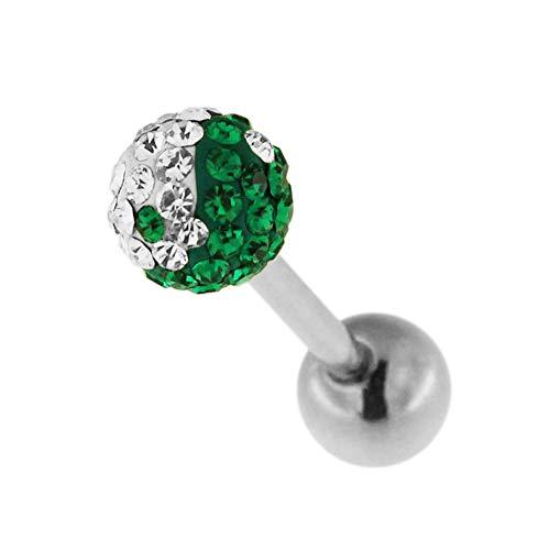 Monster Piercing Dunkelgrünes und weißes Yin Yang Multi Crystal Stone Ball 14 Gauge - 19MM Länge chirurgischer Stahl Barbell Zunge Bar Schmuck