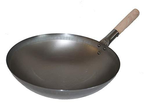 AAF Nommel ® Wok ca. 38 cm Durchmesser runder Boden für Gas, Gastronomie, Wokpfanne Carbon-wok