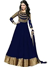 Prachi Desai Blue Neck Embroidered Long Anarkali Suit With Designer Neck Embroiderd Dimond