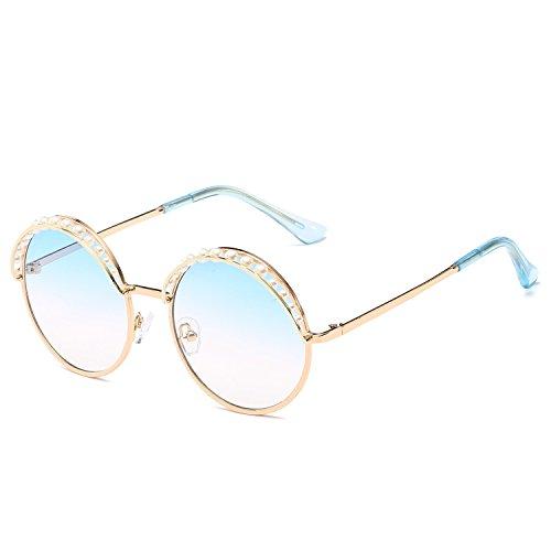YANJING Sonnenbrille Pearl Dekorative Runde Sonnenbrille Mode Marine Sonnenbrille Sonnenbrille Sonnenblende (Farbe : 2)