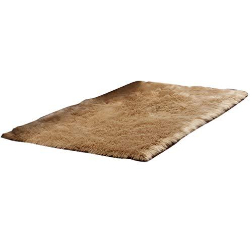 HotYou Alfombras, Lavable Material de Lana Artificial Alfombra Decorativo Sala de Estar y Dormitorio,Caqui,40 * 60CM