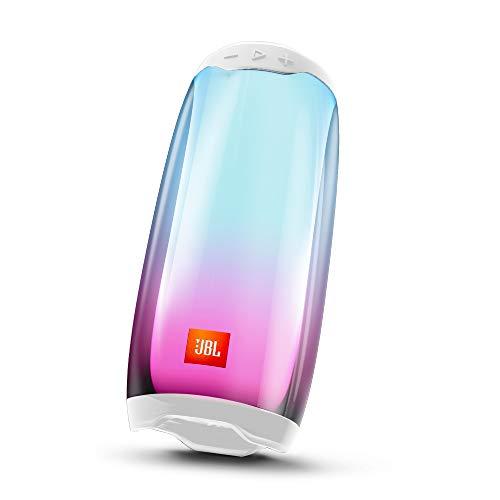 Pulse 4 White - Altavoz inalámbrico Bluetooth con efectos de luces y sonido a 360 grados, resistente al agua (IPX7), hasta 12 horas de reproducción, Blanco