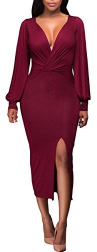 EOZY Robe Femme Moulant Col v Fendue Cérémonie Taille Haut Été Rouge