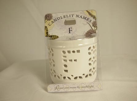 History & Heraldry Candlelit Names - F - Tea Light Lite Candle 001850079-HH by History & Heraldry