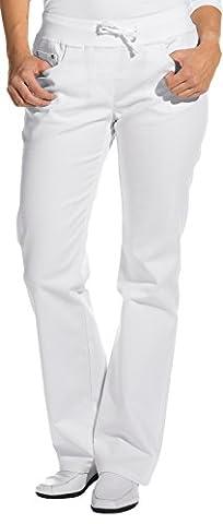 clinicfashion Stretch Jeans Hose Damen weiß, elastisches Rippstrickbündchen mit Kordeltunnelzug, Baumwolle, Größe 36