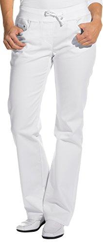clinicfashion 10613010 Stretch Jeans Hose Damen weiß, Elastisches Rippstrickbündchen mit Kordeltunnelzug, Normallänge, Baumwolle, Größe 38