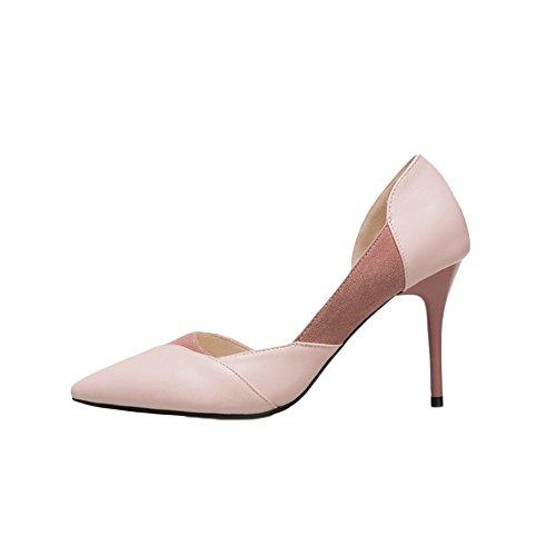 Damenschuhe Nude Farbe High Heels Fein Mit Frühling Sommer Damen Arbeitsschuhe Spitz Tisch Schuhe Schuhe Schuhe,Pink(8.5cm)-EU:35/UK:3