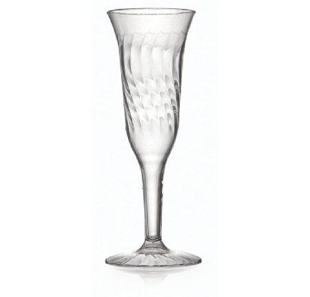 Flûte à champagne élégante en plastique rigide transparent – Motif ondulé – Lot de 8 – 140 ml pour les dîners et événements
