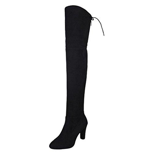 Stiefel Damen SOMESUN Stiefeletten Stretch Faux Slim High Stiefel über die Knie Stiefel High Heels Schuhe (41EU, (Stiefel Schwarz Knie Das Über)