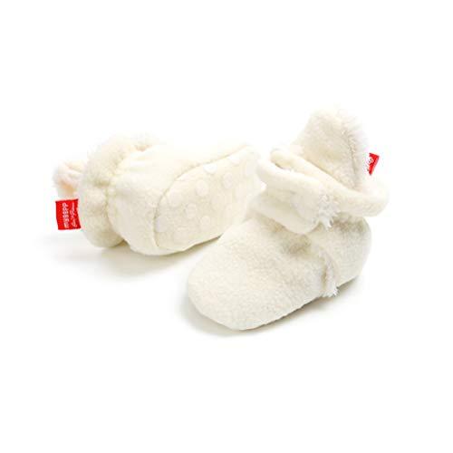 EDOTON Unisex Neugeborenes Schneestiefel Weiche Sohlen Streifen Bootie Kleinkind Stiefel Niedlich Stiefel Socke Einstellbar (0-6 Monate, Weiß) - Weiße Baby-booties