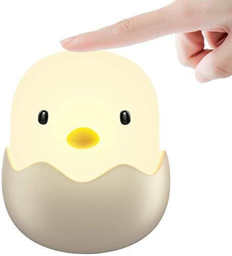 GAK Baby-Nachtlicht LED-Nachtlicht für Kinder mit Berührungssensor-Dimmer Niedliche Hühnerlampe für Kinderzimmer Sicheres ABS-Silikonbett Baby Fütterung Warmweiß