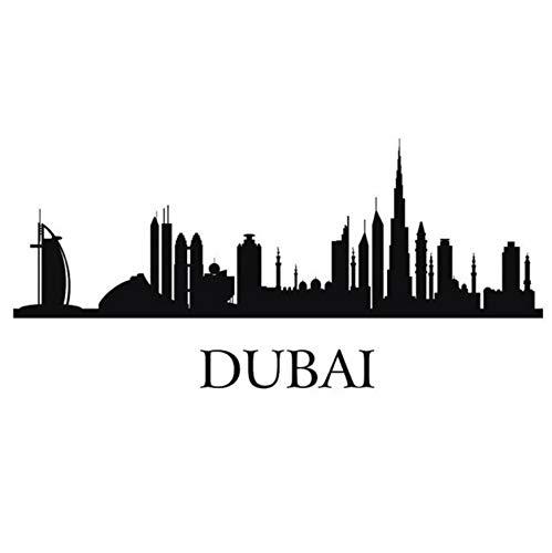leber Schlafzimmer Dubai City Aufkleber Wahrzeichen Skyline Aufkleber Skizze Aufkleber Poster Parede Home Decor Aufkleber 118X25Cm ()