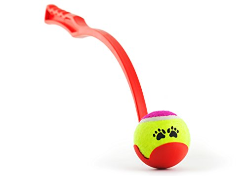 PRECORN Ballschleuder für Hunde 62 cm mit Ball Tennisball-Schleuder Apportierspiel Ballwerfer