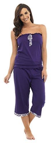 Ensemble de Pyjama Sans Manches Pantalon Court Motif Tribal Femme Violet