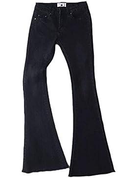 Pantalones Retro Casual para Mujer - Pantalones Acampanados Altos Elásticos de Cintura Alta Vintage de la Moda...