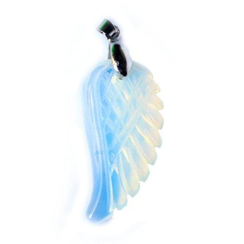 Aituo 1 stück Natürliche Kristall Reiki Flügel Haufen Edelstein Healing Chakra Anhänger Pendel für Halskette DIY Schmuck Machen (Opal) (Edelstein-halskette Schwert)