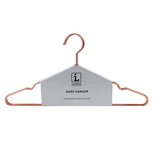 5 x Kleiderbügel Kupfer Rosegold von Leanback Industries I Kleiderbügel rutschfest, platzsparend aus stabilen Draht mit Kerbe 42 (Hanger T-shirt)