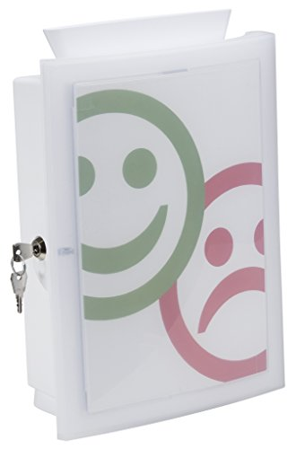 HAN Image'in Sammelbox in weiß Abschließbare Box geeignet als Spendenbox oder Meckerkasten aus Kunststoff, zur Wandmontage oder frei stehend und individuell gestaltbar, 260x128x375mm (BxTxH)