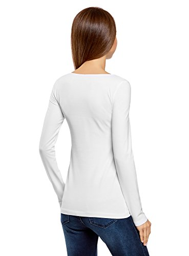 oodji Collection Damen Tagless Langarmshirt (5er-Pack) Weiß (1000N)
