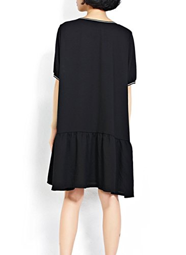 ELLAZHU Femme Falbala Hem Lettre Courte Manche Casual Robe chemise GA111 A Noir