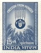 Sams Shopping 21 Mar '63 Freedom from Hunger Hunger Hands Food Organisation Grains Emblem 15 nP Stamp