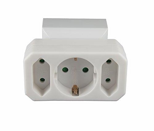 Multistecker Adapterstecker Schutzkontakt Verteiler Mehrfachstecker 3-fach 4-fach 2 fach (1 Schucko + 2 Euro)