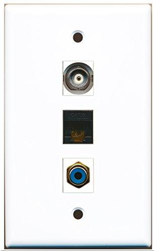 riteav-1Port RCA mit BNC, und 1Port schwarz Cat6Ethernet-Platte -