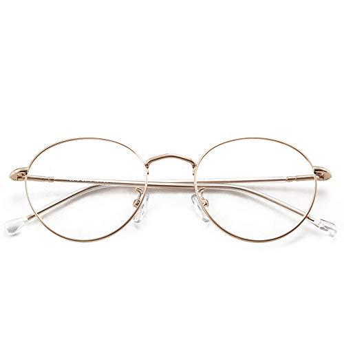 Yangjing-hl Metall runden flachen Spiegel Männer und Frauen Retro runden Rahmen Brillengestell Golddraht Brillengestell Goldrahmen