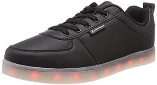 LED Schuhe,Shinmax 7 Farbe USB Aufladen LED Leuchtend Sport Schuhe Sportschuhe LED Sneaker Turnschuhe für Unisex-Erwachsene Herren Damen mit CE-Zertifikat(Black,36)