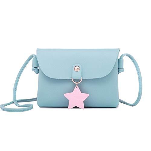Frauen Messenger Bags Slung Schulter Small Square Flap Bag Trend Mini Mädchen Handtasche (Blau) -