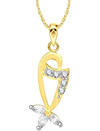 VK Jewels Markis Studded Gold And Rhodium Plated Alloy CZ American Diamond Pendant With Chain For Women [VKP2648G]