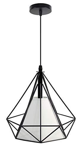 Vetrineinrete Lampadario da soffitto pendente a sospensione a forma di diamante plafoniera nero o bianco portalampada con attacco e27 arredamento casa moderno (Nero)