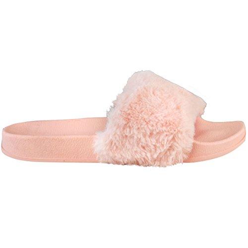 Donna Scivolare Sul Piatto Farrah Gomma Scivolosi Sabot Pelo Pantofola Sandali Scarpe chiaro pastello rosa pelliccia finta