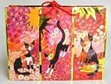 Tragetasche. Motiv Herbst (Katzen, rot-orange), groß. 10 Exemplare